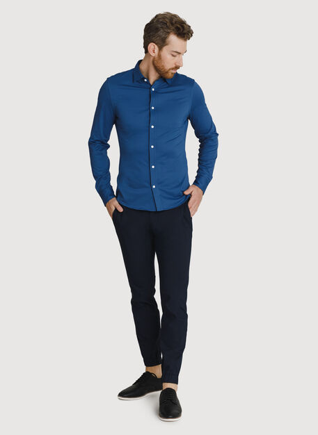 Court Stretch Long Sleeve Button Down, Dark Denim | Kit and Ace