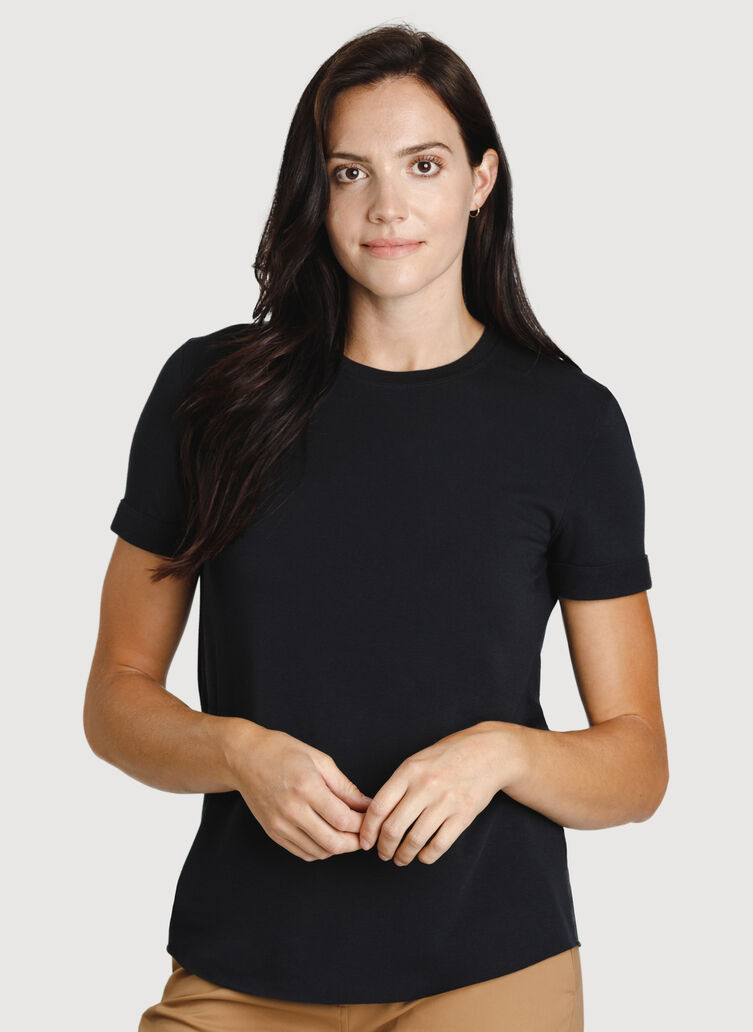 Good Feels Brushed Short Sleeve Crew, Black | Kit and Ace