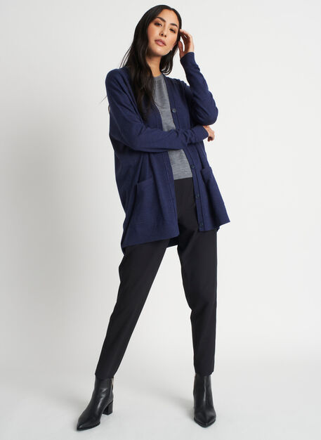 Travel On Merino Cardigan, Heather Dark Navy | Kit and Ace