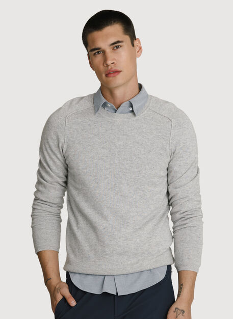 Cashmere Crew Pullover, Heather Foggy | Kit and Ace