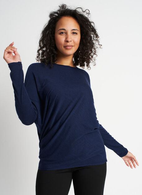 Effortless Merino Wave Long Sleeve Tee, Heather Dark Navy | Kit and Ace