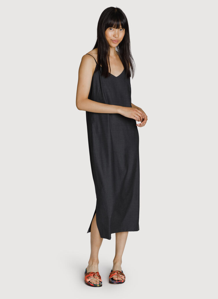 Stretch Slip Midi Dress, HTHR Charcoal | Kit and Ace