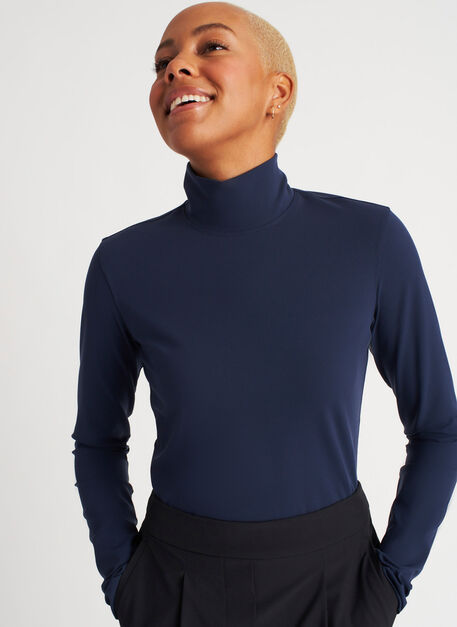 The Base Long Sleeve Turtleneck, Dark Navy | Kit and Ace