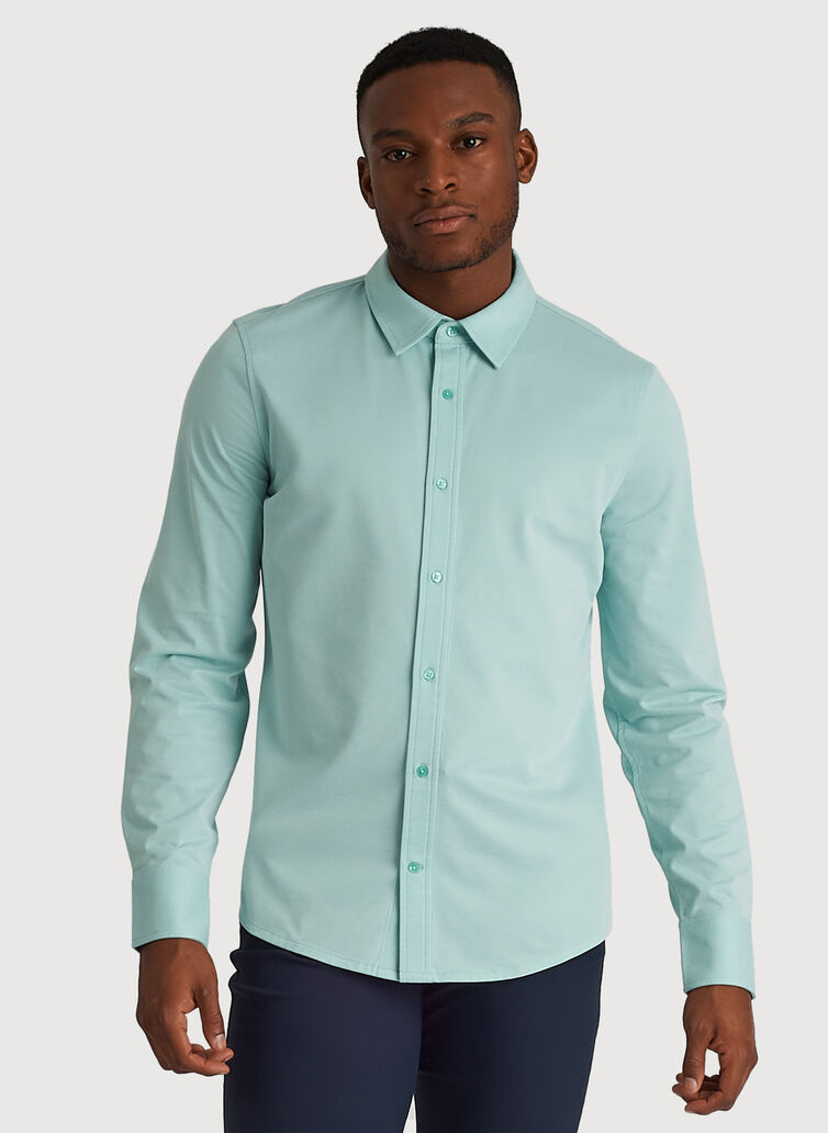 City Tech Long Sleeve Shirt, Seafoam Chambray | Kit and Ace