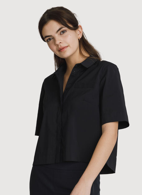 Stretch Cropped Blouse, BLACK | Kit and Ace