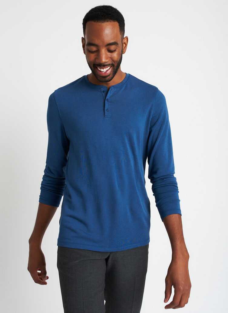 Upgraded Long Sleeve Henley Tee, Heather Night Blue | Kit and Ace