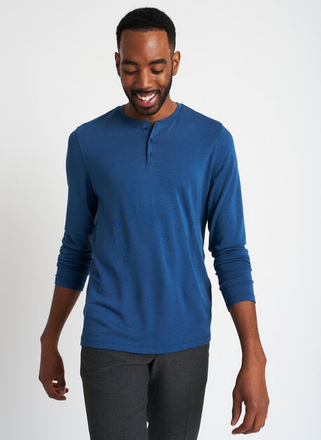 Upgraded Long Sleeve Henley Tee, Heather Night Blue   Kit and Ace