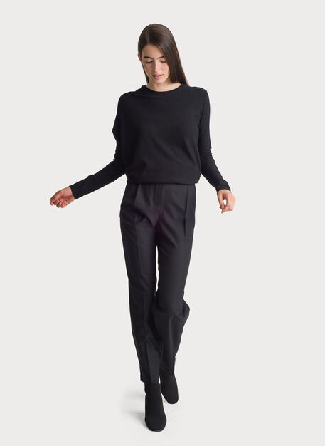 Stretch Suiting Pleated Trouser, BLACK   Kit and Ace