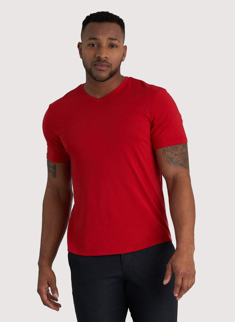 Ace V-Neck Tee, Crimson | Kit and Ace