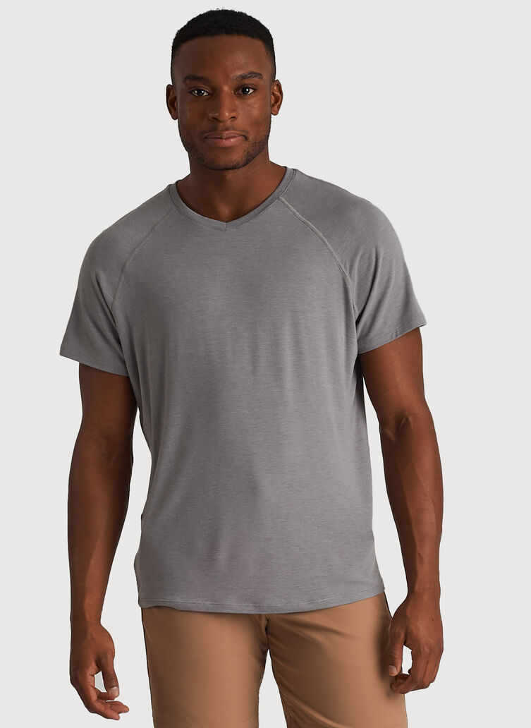 Ace Tech Jersey V-Neck Tee Relaxed Fit, Heather Light Grey | Kit and Ace