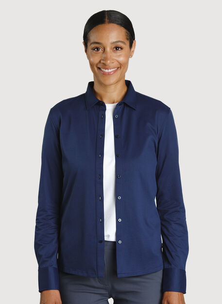 O.T.M. Long Sleeve Button Up, Deep Navy | Kit and Ace