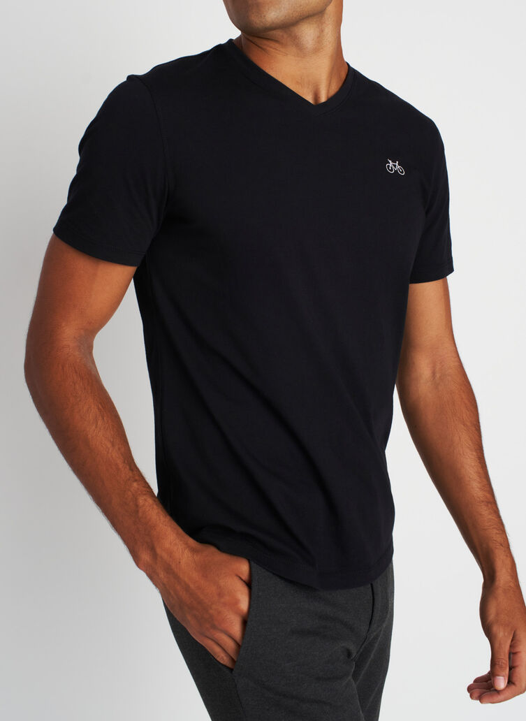 Motion V-Neck Tee, Black | Kit and Ace