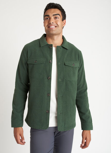 Water Resistant Fleece Shirt Jacket, Heather Forest   Kit and Ace