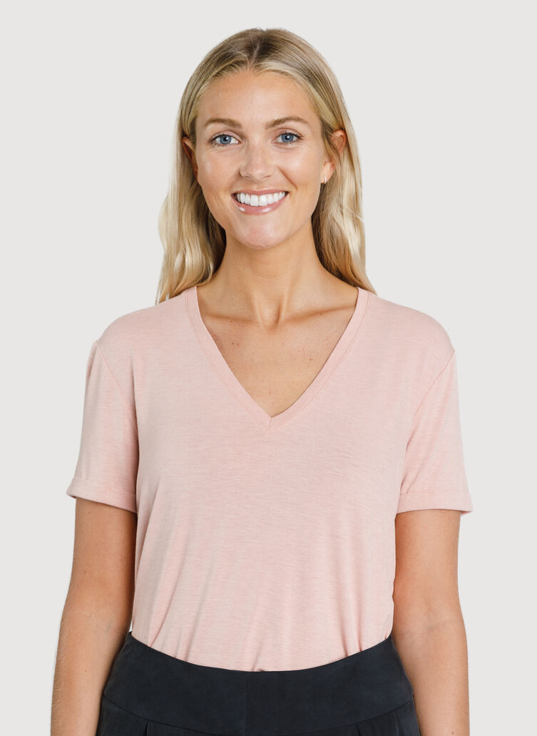 Kit Tech Jersey V-Neck Tee Relaxed Fit, Heather Dark Rosebud | Kit and Ace