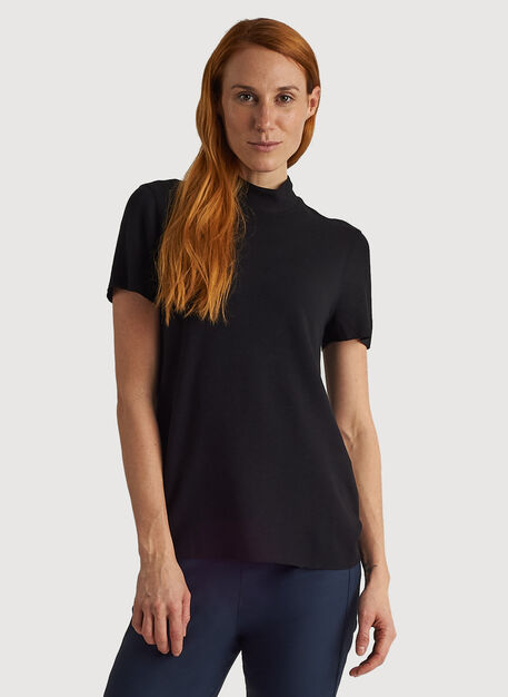 Kit Brushed Mock Neck Tee, BLACK | Kit and Ace