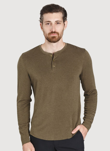 The B.F.T. Long Sleeve Henley, HTHR Moss | Kit and Ace