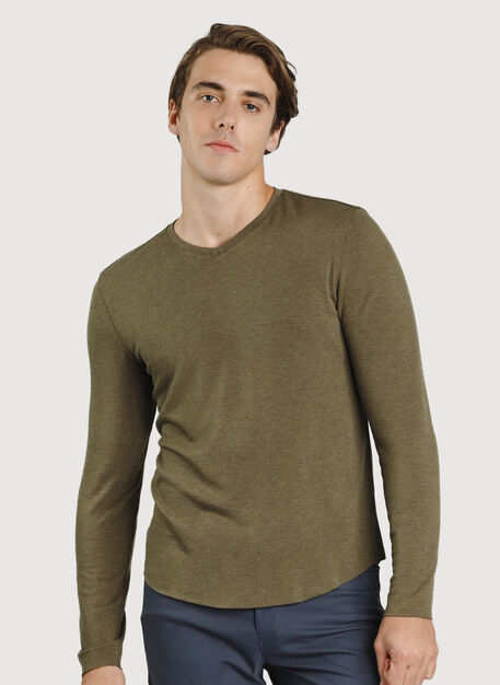 The B.F.T. Long Sleeve V-Neck, HTHR Moss | Kit and Ace