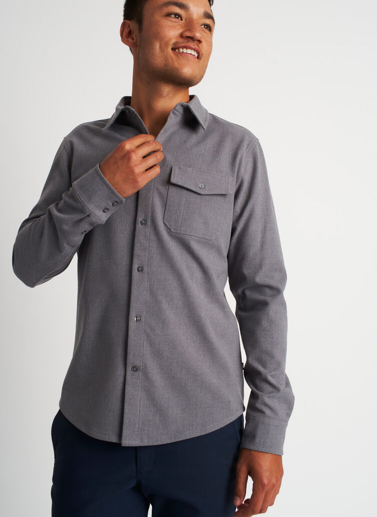 Urban Adventure Flannel Shirt, Heather Grey | Kit and Ace