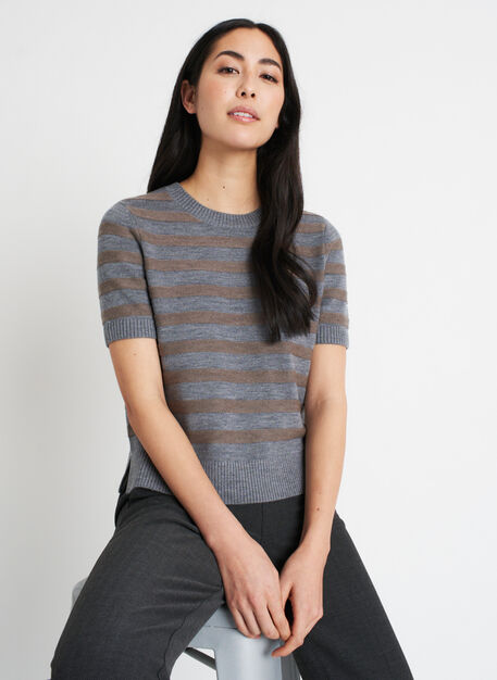 Dreamy Merino Sweater Tee, Heather Grey/Heather Taupe | Kit and Ace