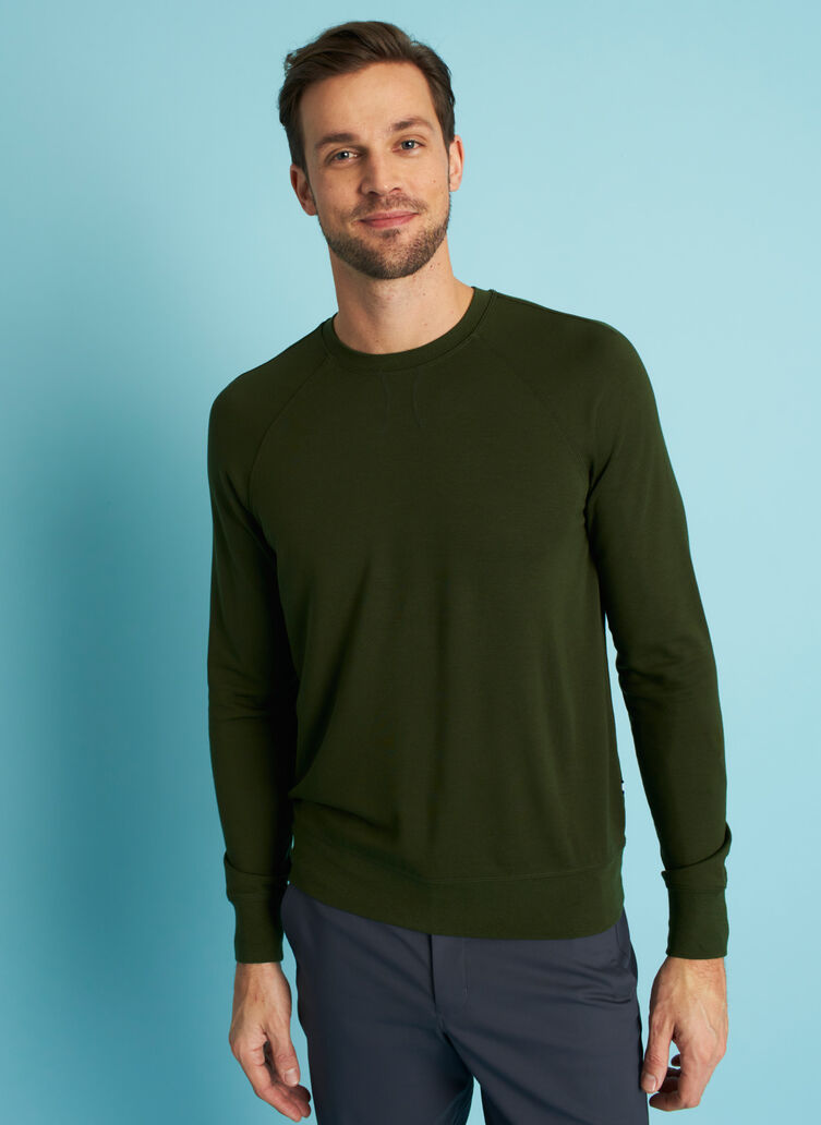 Chillin Brushed Pullover, Grove Green | Kit and Ace