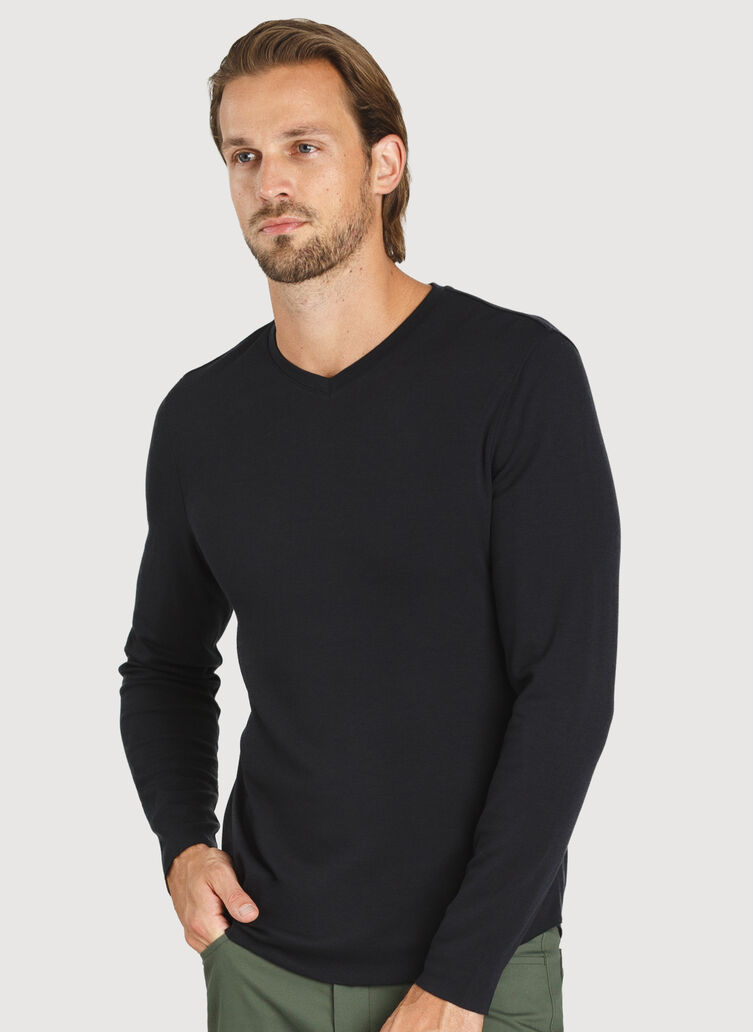 The B.F.T. Long Sleeve V-Neck Tee, Black | Kit and Ace