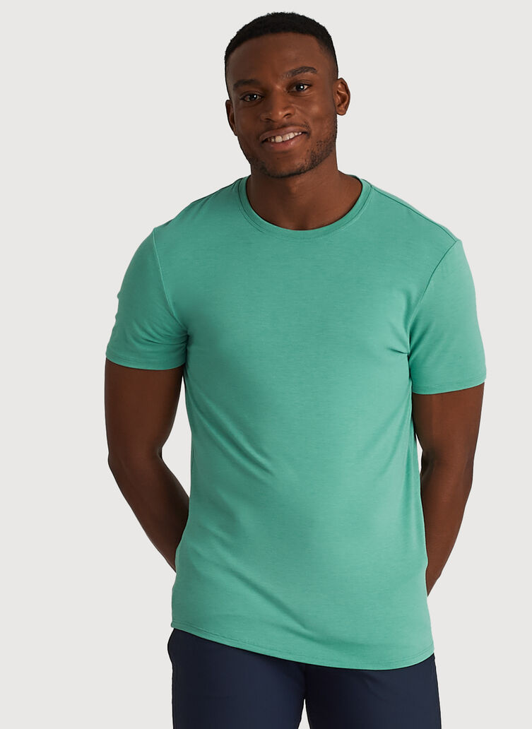 Ace Tech Jersey Crew Tee Standard Fit, Heather Seafoam | Kit and Ace