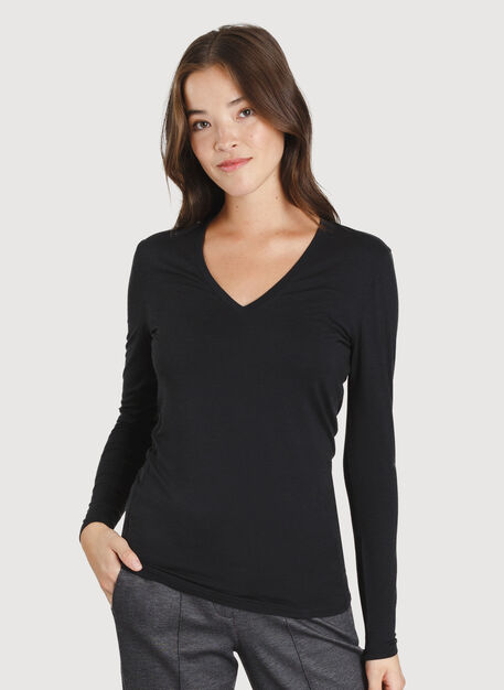 Kit Long Sleeve V-Neck, BLACK | Kit and Ace