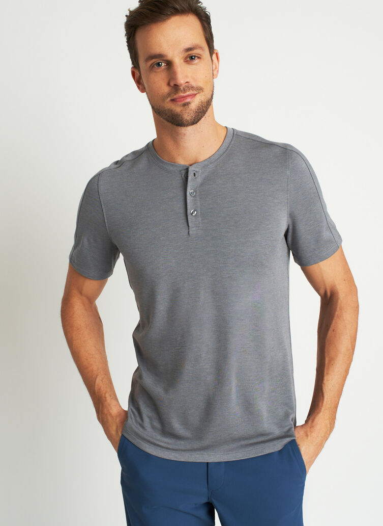 Comfy Brushed Henley Tee, Heather Shade | Kit and Ace