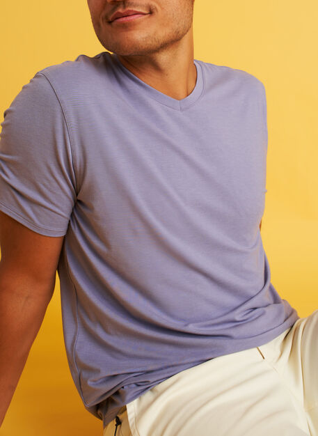 Ace V-Neck Tee, Lavender Grey | Kit and Ace