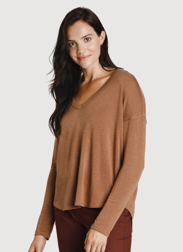 Easy Long Sleeve Tee, Heather Toffee | Kit and Ace