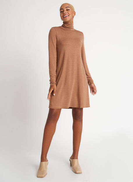 Upgrade Brushed Dress, Heather Toffee | Kit and Ace