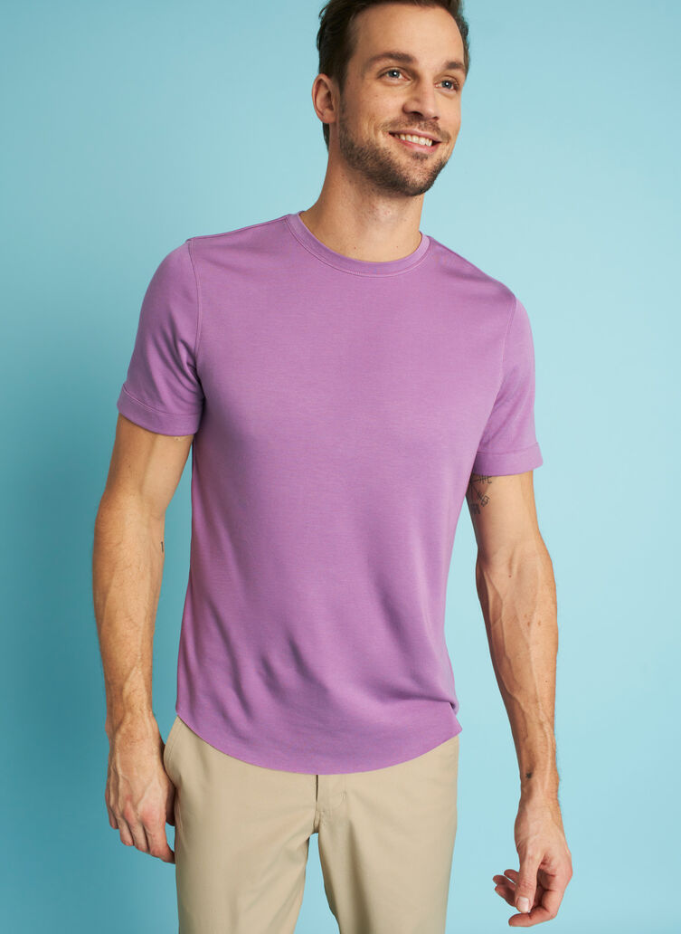 Brushed Crewneck Tee, Grape | Kit and Ace