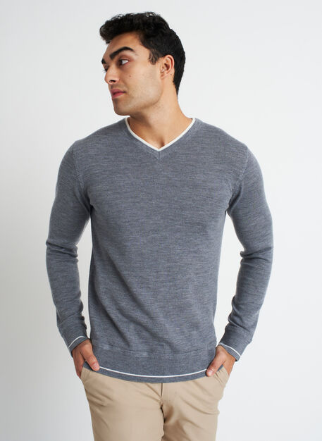 Handsome Merino Sweater, Heather Grey/Ivory | Kit and Ace