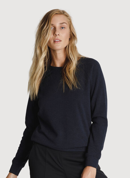 Rec Raglan Relaxed Crew, HTHR DK Navy | Kit and Ace