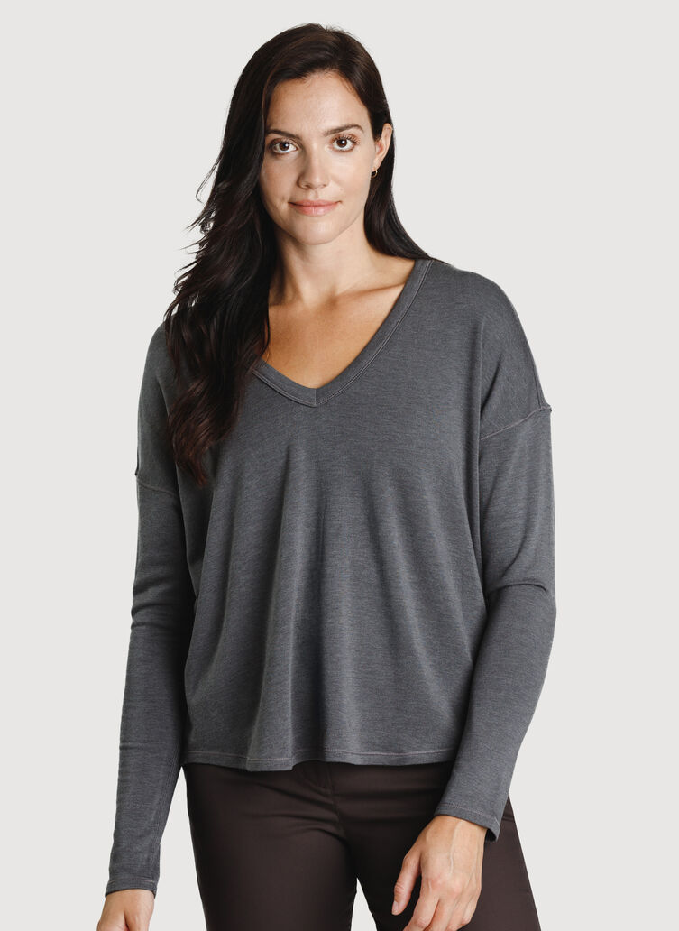 Easy Long Sleeve Tee, Heather Charcoal | Kit and Ace