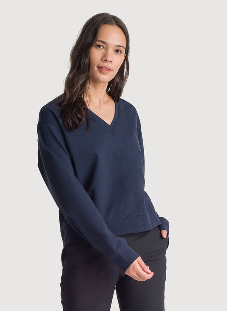 Stretch V-Neck Long Sleeve, HTHR DK Navy | Kit and Ace