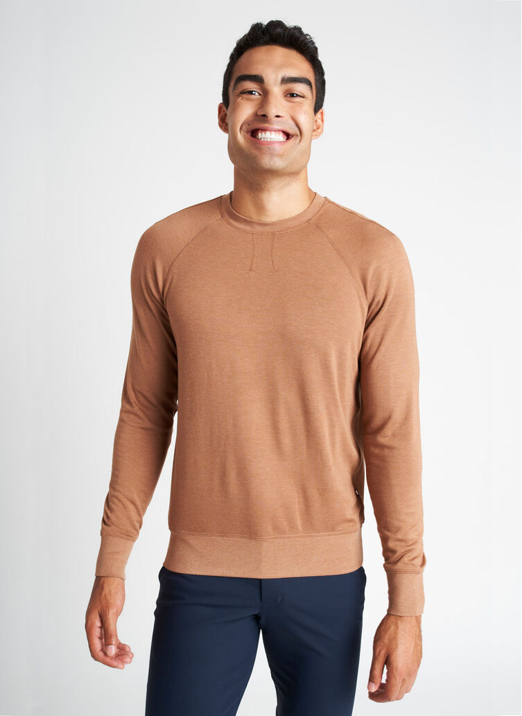 Chillin Brushed Pullover, Heather Toffee | Kit and Ace