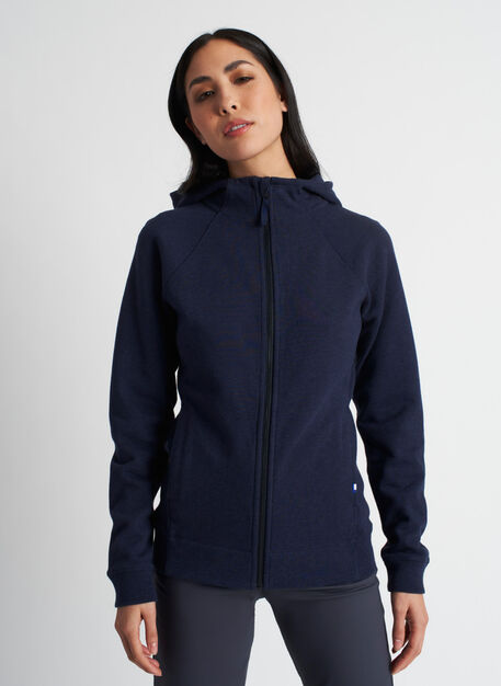 Coastal Zip Up Hoodie, Heather Dark Navy | Kit and Ace