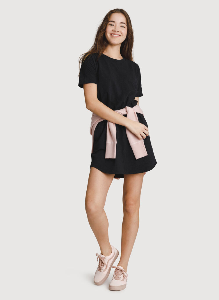 Crew T-Shirt Dress, HTHR Black | Kit and Ace