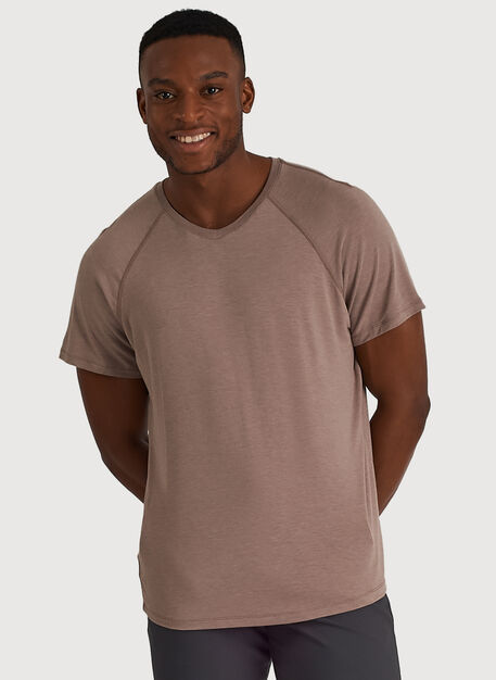 Ace Tech Jersey V-Neck Tee Relaxed Fit, Heather Dark Oat | Kit and Ace