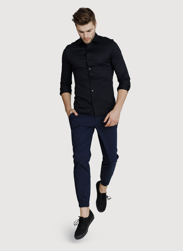Court Stretch Long Sleeve Button Down, BLACK | Kit and Ace
