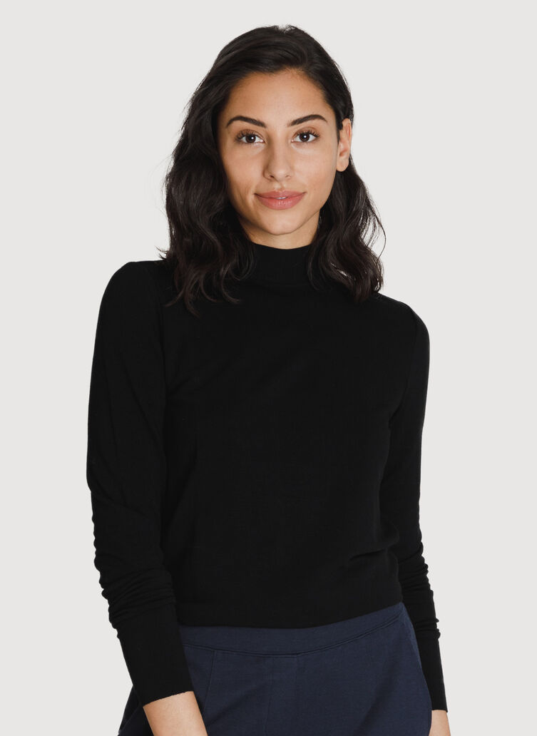 Brushed Mock Neck Long Sleeve Tee, BLACK | Kit and Ace