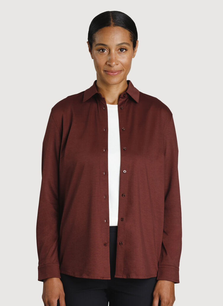 O.T.M. Pleated Button Up, Cherrywood   Kit and Ace