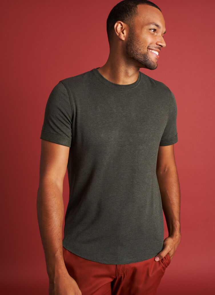 Brushed Crewneck Tee, Heather Cedar | Kit and Ace
