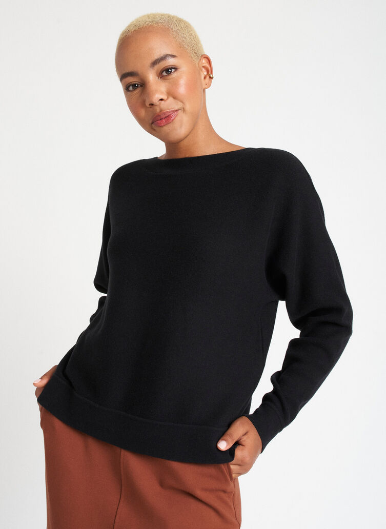 Back to Front Merino Wool Sweater, Black | Kit and Ace