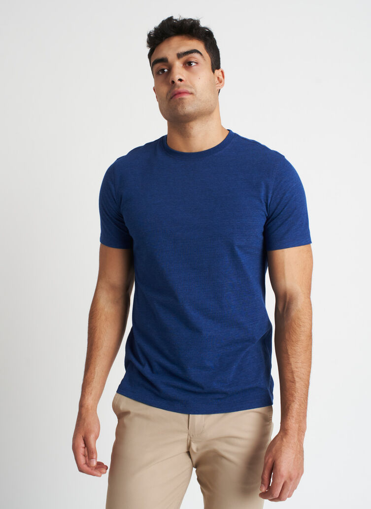 Ace Pima Crewneck Tee, Heather Deep Blue | Kit and Ace