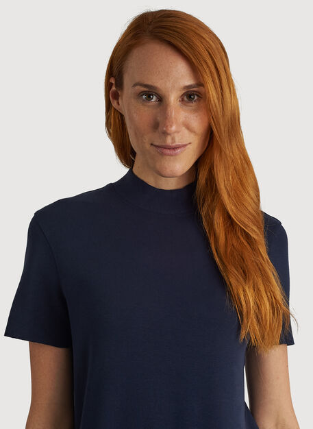 Kit Brushed Mock Neck Tee, DK Navy | Kit and Ace