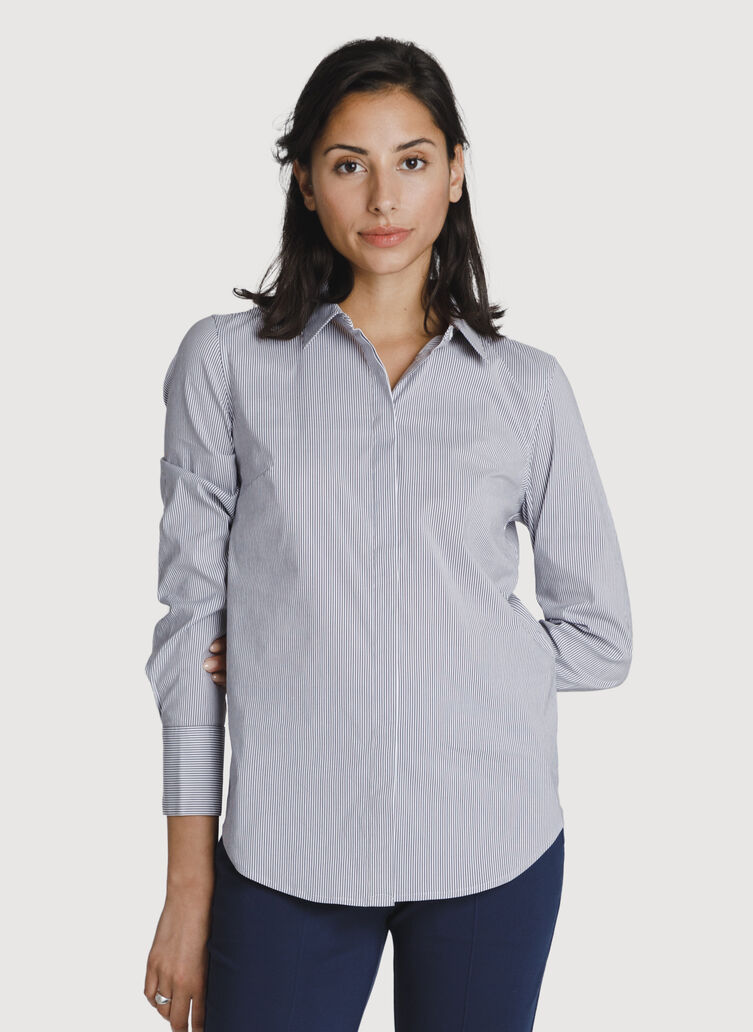 Stretch Tailored Blouse, MICRO SHIRTING STRP/PLUM | Kit and Ace