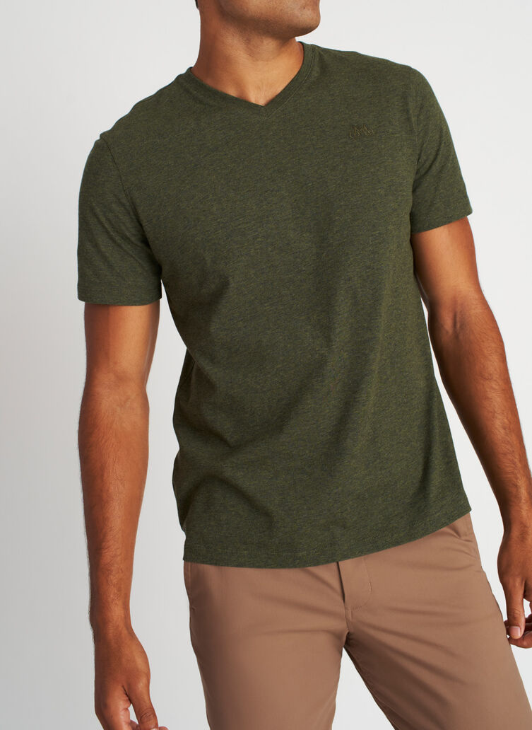 Motion V-Neck Tee, Heather Deep Forest | Kit and Ace