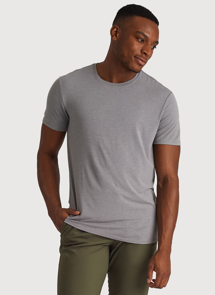 Ace Tech Jersey Crew Tee Standard Fit, HTHR Light Grey | Kit and Ace
